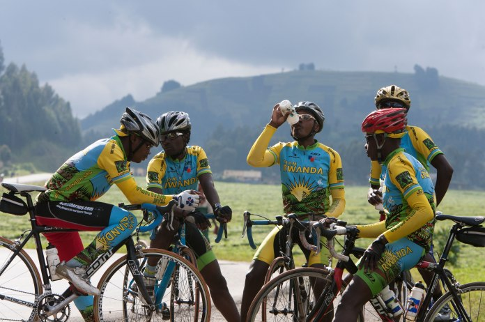 "Team Rwanda during filming for ""Rising From Ashes"" [Courtesy Robb Aaron Gordon]"