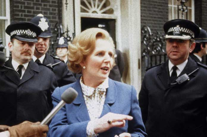 Thatcher arrives at Downing Street in 1979 (www.gov.uk)