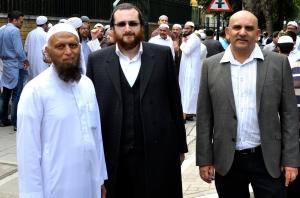 Left to right: Eusoof Amerat, Chaim Hochhauser and Munaf Zeena [Simon Hooper]