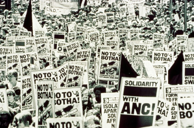 Protesters march against Apartheid in London in 1984. [Source: ANC Archive]