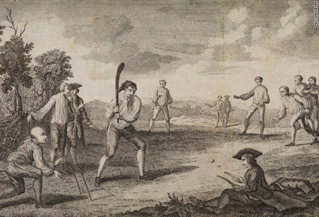 Cricket and baseball both evolved out of early 18th century English ball games. [MCC Museum]