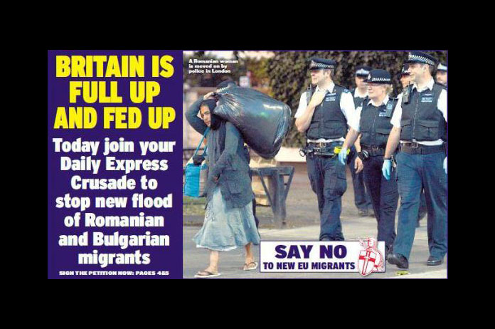 An example of how the Daily Express depicts Romanian migrants to the UK.