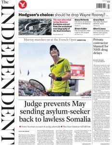 The Independent front page following up this story.