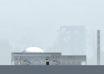 An architectural sketch of how the proposed mosque in Gellerup would look [Courtesy FIF/Metin Aydin]