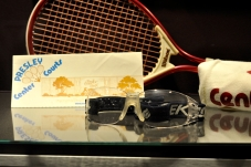 Raquetball goggles and a racket used by Elvis, who played the sport obsessively [Simon Hooper]