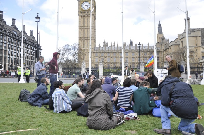 Occupy Democracy campaigners gather in Parliament Square [Simon Hooper]