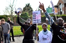 Protesters outside Harmondsworth and Colnbrook detention centres in April [Simon Hooper]